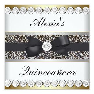 Elegant Black and Gold Quinceanera Card