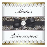 Elegant Black and Gold Quinceanera Personalized Announcement