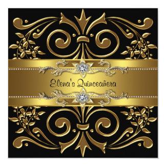 Elegant Black and Gold Quinceanera Invitations