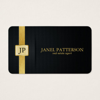 Elegant Black and Gold Real Estate Agent Business Card