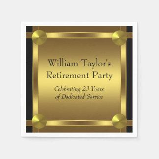 Elegant Black and Gold Retirement Napkin