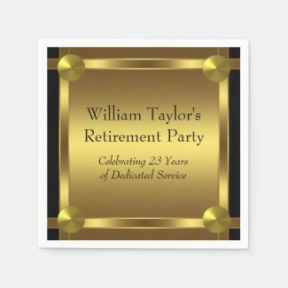 Elegant Black and Gold Retirement Napkins