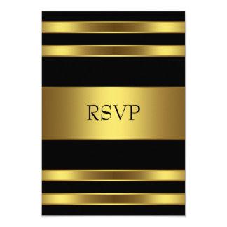 Elegant Black and Gold RSVP Card
