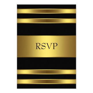 Elegant Black and Gold RSVP Invites