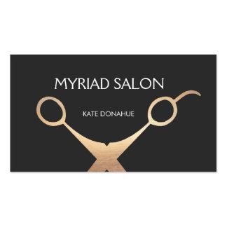 Elegant Black and Gold Salon Hair Stylist Business Card