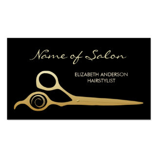 Elegant Black and Gold Salon Hairstylist Scissors Double-Sided Standard Business Cards (Pack Of 100)