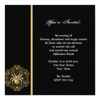Elegant Black and Gold Spider Halloween Party Card