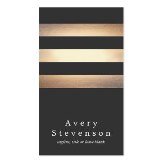 Elegant Black and Gold Striped Cool Modern Double-Sided Standard Business Cards (Pack Of 100)