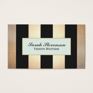 Elegant Black and Gold Stripes Fashion NO SHINE Business Card