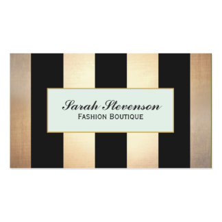 Elegant Black and Gold Stripes Fashion NO SHINE Double-Sided Standard Business Cards (Pack Of 100)