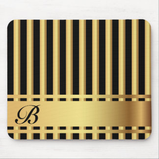 Elegant Black and Gold Stripes Mouse Pad