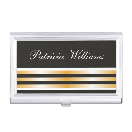 Elegant Black And Gold Stripes Personalized Case For Business Cards