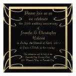 Elegant Black and Gold Swirl Anniversary Custom Invitations