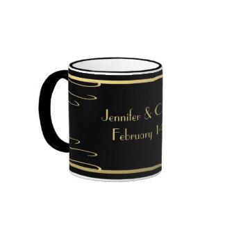 Elegant Black and Gold Swirl Ringer Mug
