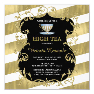 Elegant Black and Gold Tea Party 5.25x5.25 Square Paper Invitation Card