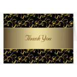 Elegant Black and Gold Thank You Stationery Note Card