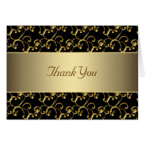 Elegant Black and Gold Thank You Card