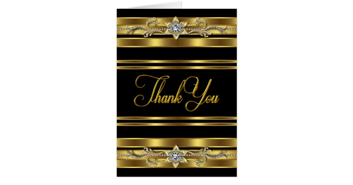 Elegant Black And Gold Thank You Cards Zazzle Com
