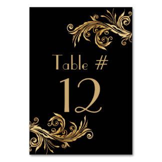 Elegant Black and Gold Tone Wedding Table Number Card