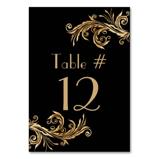 Elegant black and gold tone wedding table number table for Table 52 cards