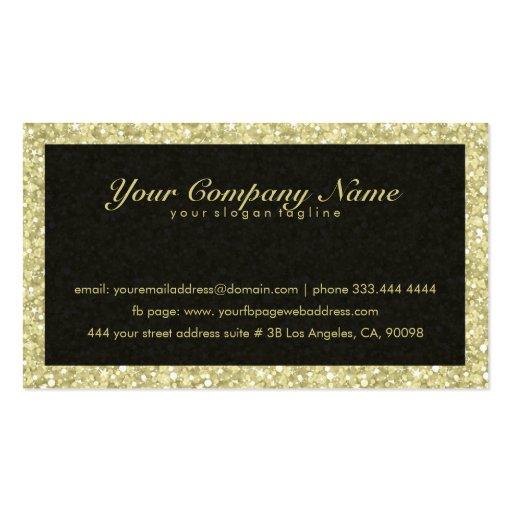 Elegant Black And Gold Tones Glitter & Sparkles Business Card (back side)