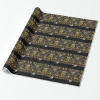 Elegant Black and Gold Trim Monogram Wrapping Paper