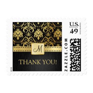 Elegant Black and Gold Vintage Damask Thank You! Postage Stamps