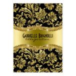 Elegant Black And Gold Vintage Damasks 4 Business Card Template
