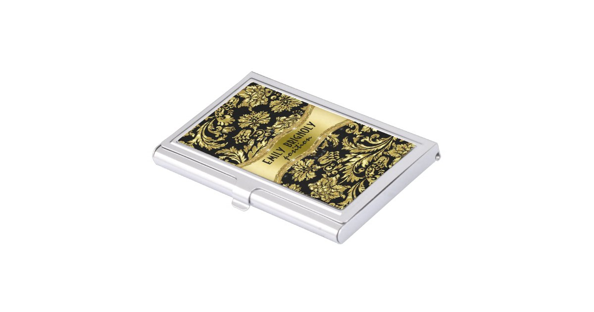 Elegant Black And Gold Vintage Damasks 4 Business Card Case ...