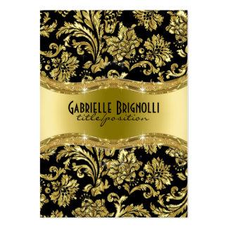 Elegant Black And Gold Vintage Damasks 4 Large Business Card