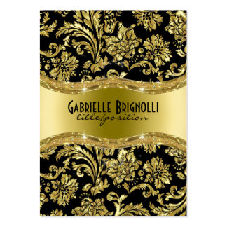 Elegant Black And Gold Vintage Damasks 4 Large Business Cards (Pack Of 100)