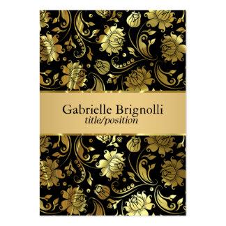 Elegant Black And Gold Vintage Damasks 5 Large Business Cards (Pack Of 100)