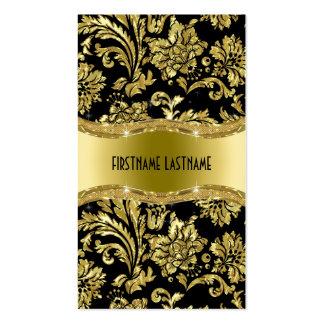 Elegant Black And Gold Vintage Damasks Double-Sided Standard Business Cards (Pack Of 100)