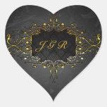 Elegant Black And Gold Vintage Gold Lace Frame 4 Heart Sticker
