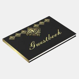 Elegant Black and Gold Wedding Guest Book