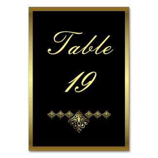 Elegant Black and Gold Wedding Number 19 Table Number
