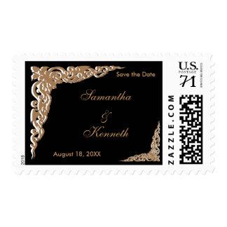 Elegant Black and Gold Wedding Postage Stamps