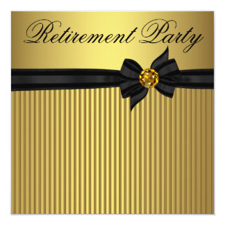 Elegant Black and Gold  Womans Retirement Party Card
