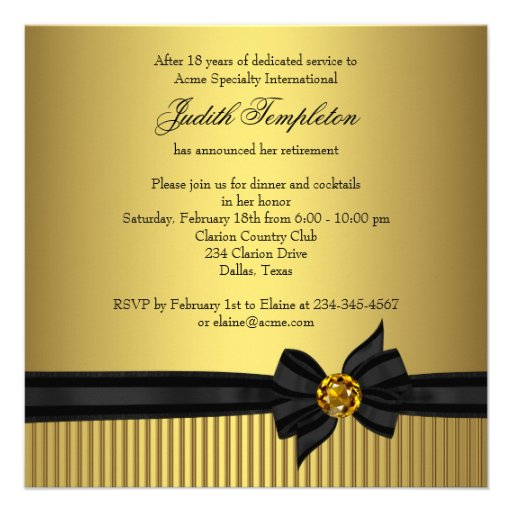 Elegant Black and Gold  Womans Retirement Party Custom Invite (back side)