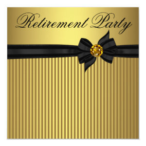 Elegant Black and Gold Womans Retirement Party Invitation