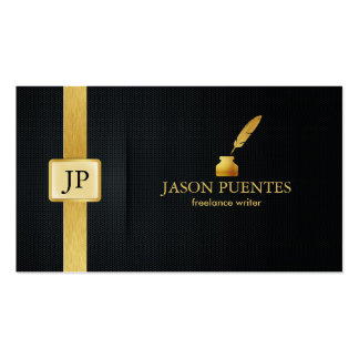 Elegant Black and Gold Writer's Double-Sided Standard Business Cards (Pack Of 100)