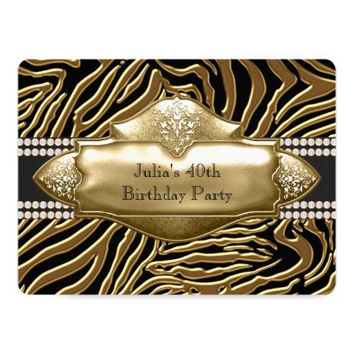 Elegant Black and Gold Zebra Birthday Party Card
