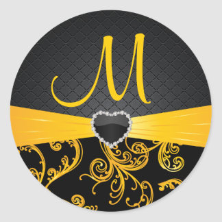 Elegant Black and Golden Yellow Floral Pattern Classic Round Sticker