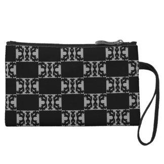 Elegant black and gray checkerboard pattern wristlets