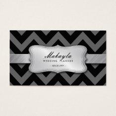 Elegant Black and Gray Chevron Pattern Business Card at Zazzle
