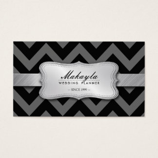 Elegant Black and Gray Chevron Pattern Business Card