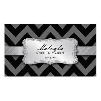 Elegant Black and Gray Chevron Pattern Business Card Templates