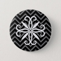 Elegant black and gray chevron pattern button