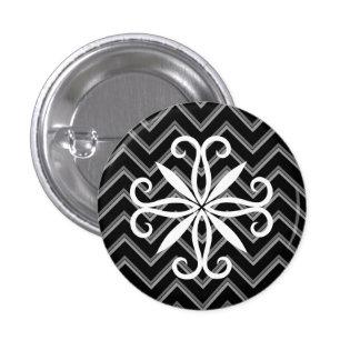 Elegant black and gray chevron pattern 1 inch round button