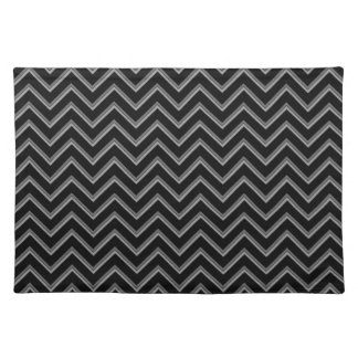 Elegant black and gray chevron pattern cloth placemat